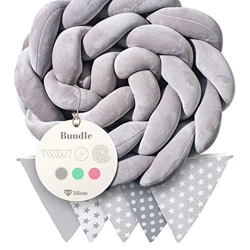 lilime® Bettschlange geflochten Inkl. GRATIS Wimpelkette – Schadstoffgeprüft – Super weiche Bettumrandung geflochten - Babybettumrandung Babybett - Baby Nestchen - Bettschlange (2M/Grau)