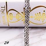 HUIJUNWENTI Schöne Breite 0.7CM Glasperlen Spitze trimmt DIY Hochzeitskleid Kragen Schmuck Kopfbedeckungen Zubehör Band Wulstige handgemachte (Color : 2 Silver Pearl)