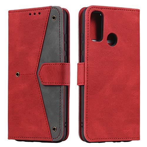 HOUSIM Hülle für Moto G30 / G10 Handyhülle mit Kartenfach Klappbar Schutzhülle Leder Tasche Flip Hülle für Motorola Moto G30 / G10 - HOHHA180501 Rot