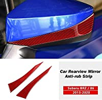 に適しスバル BRZ トヨタ 86 2013-2020 カーレッドカーボンファイバーサイドバックミラーストリップトリムています