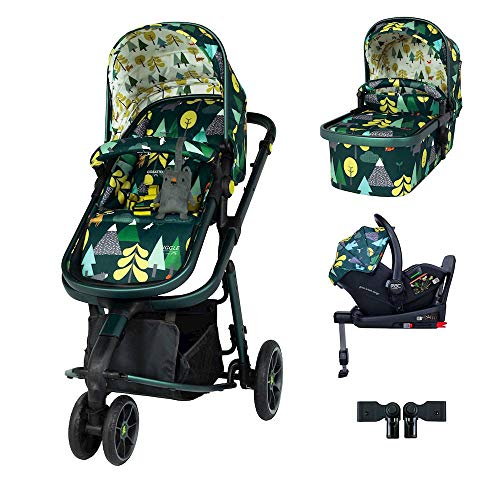 Cosatto Giggle 3 Pram Pushchair i-Size Travel System Bundle – From Birth to 18kg, RAC Port i-Size Car Seat, Adaptors, ISOFIX Base (Into The Wild)