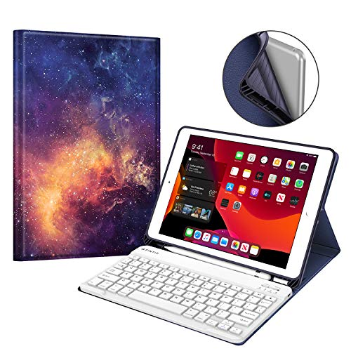 Fintie Keyboard Case for New iPad 7th Generation 10.2 Inch 2019, Soft TPU Back Stand Cover w/Built-in Pencil Holder, Magnetically Detachable Wireless Bluetooth Keyboard for iPad 10.2', Galaxy