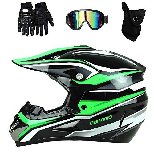 4 Pcs Infantil Cascos de Motocros Casco de Cross Adulto Downhill Enduro Moto Deportivas Cascos con Gafas Protectoras Guantes Mask, Negro Verde Blanco