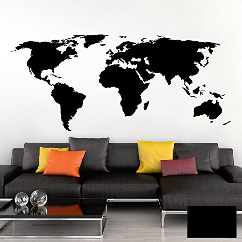 Grandora Wandtattoo Weltkarte Erde Globus Karte I schwarz 150 x 65 cm I Welt Atlas Schlafzimmer Wohnzimmer Wandsticker Wandaufkleber W698