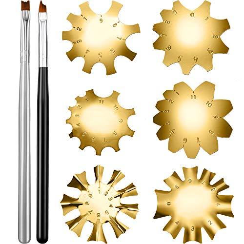 6 Stücke Französische Smile Line Schneider Werkzeuge Edelstahl Nagel Maniküre Kantenschneider Vorlagen mit 2 Stück Nagel Französische Tip Pinsel für DIY Acryl Nagel Kunst (Gold)