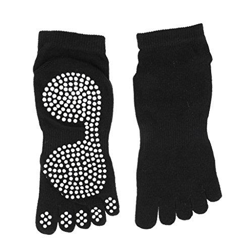 Sharplace Calcetines Antideslizantes para El Dedo del Pie del Gimnasio de Yoga de Algodón para Mujer Calcetines de Agarre Completo - Negro