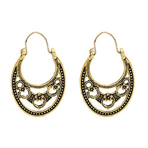 Pendientes con patrón romano hueco de luna de aleación retro europea y americana aretes con patrón de anillo en forma de U femenina-A