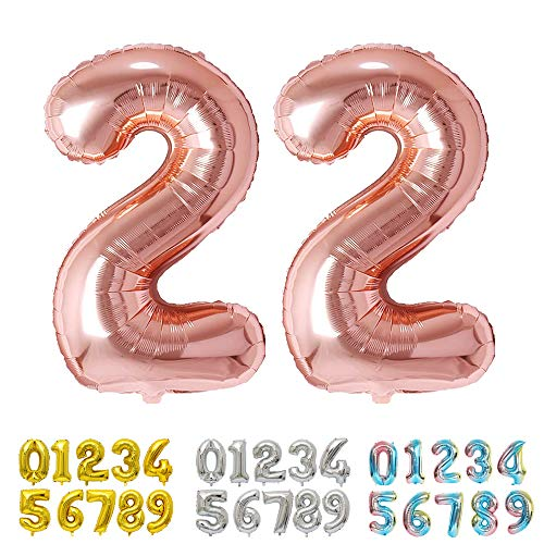 Ponmoo Foil Globo Número 22 Oro Rosa, Gigante Numeros 0 1 2 3 4 5 6 7 8 9 10-19 20-29 30 40 50 60 70 80 90 100, Grande Globos para La Boda Aniversario, Globo de Cumpleaños Fiesta Decoración
