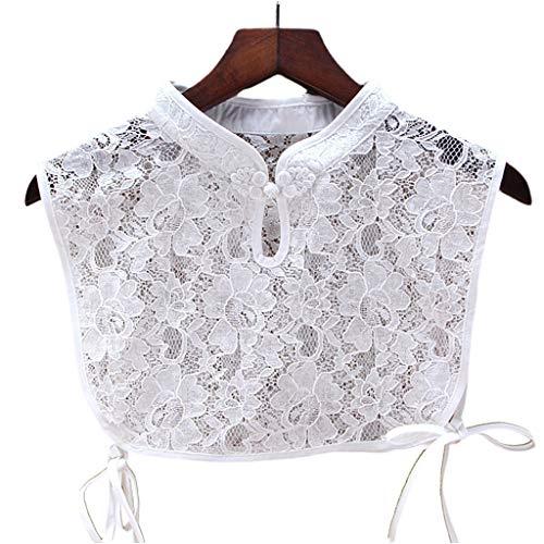 MYBOON Collar Falso con Soporte de Estilo Chino, Collar de Encaje de Ganchillo Ahuecado, botón de Gargantilla, Corbatas de Seda, Blanco