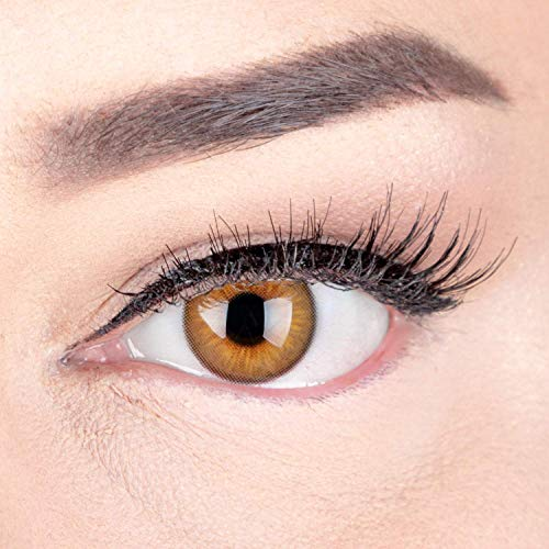 Sehr stark deckende und natürliche Braune Kontaktlinsen SILIKON COMFORT NEUHEIT farbig 'Elly Brown' + Behälter von GLAMLENS - 1 Paar (2 Stück) - DIA 14 mm - ohne Stärke 0.00