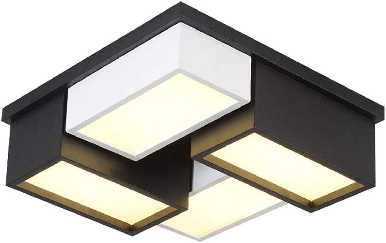 32W LED Deckenleuchte Stufenloses Dimmbar mit Fernbedienung Deckenlampe 4 Flammig Schwarz Weiss Metall und Acryl Rechteckige Design Deckenlicht Schlafzimmer Esszimmer,45  45  15CM