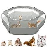 VavoPaw Kleintiere Laufstall, 190T Polyestertaft Atmungsaktiv Netz Visuell Reißverschluss Haustier Käfig Faltbare Wasserdicht Übungszaun für Kätzchen Welpen Kaninchen Hamster - Grau