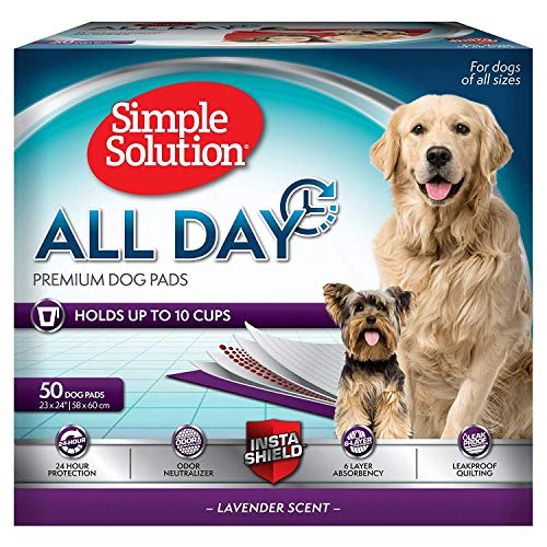 Simple Solution Training Pads for Dogs, All Day Premium, Lavender, 23x24 Inch, 50 Count (100 ct)