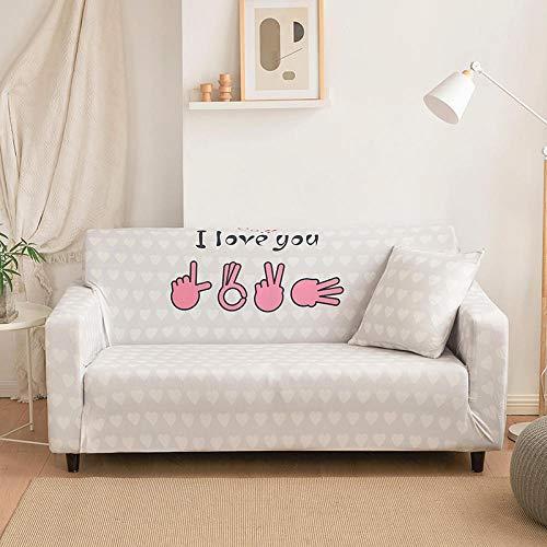 Protector de sofá con Estampado,Fundas de Sofá Elasticas de 1 2 3 4 Plazas,Poliéster Suave con Funda elástica,Antideslizante Protector Cubierta de Muebles,Patrón de Amor