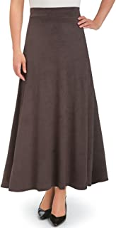 Collections Etc Women's Faux Suede A-Line Skirt Burgundy Medium