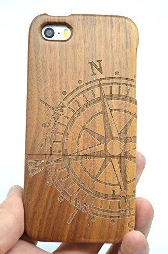 RoseFlower® Holz Schutzhülle für iPhone SE/iPhone 5S / iPhone 5 (10,2 cm (4 Zoll) - Walnuss-Kompass Handyhülle - Natürliche Handgemachte Holzhülle Hülle Handytasche Handy Case Cover
