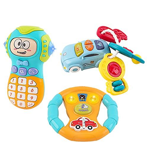 deAO Ensemble de Jouets pour Enfants incluant Un téléphone Portable avec Effets Lumineux et sonores, Un Volant et des clés de Voitures