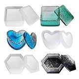 Guanici - Caja de resina epoxi con forma de corazón, forma hexagonal, molde de silicona, molde de...