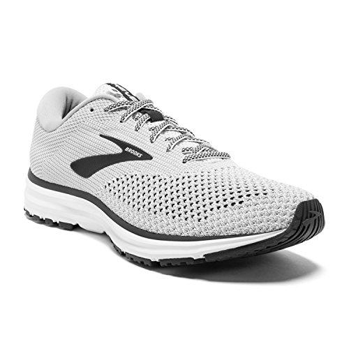 Brooks Mens Revel 2 Running Shoe - White/Grey/Black - D - 10.5