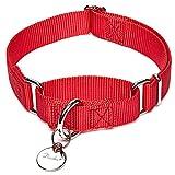 Dazzber Martingal Halsbänder für Hunde, Verstellbar Langlebig Kein Escape Stop Ziehen Hundehalsband Nylon für Große/Mittlere/Kleine Hunde (M, Rot)
