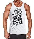 Neverless® Herren Tank-Top Wolf Fenrir Fabelwesen Wikinger nordische Mythologie Odin Muskelshirt Muscle Shirt weiß XL