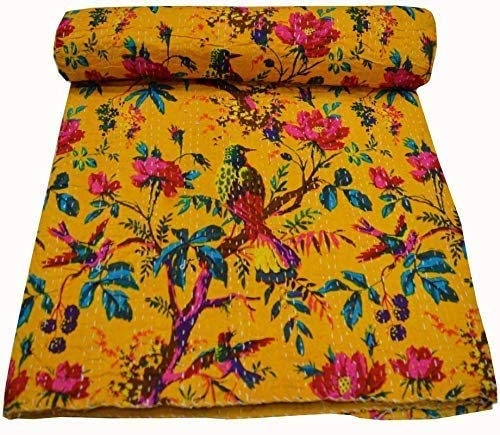 Indian Vintage Cotton Yellow Bird Printed Kantha Quilt Queen Handmade Tribal Bed Cover Reversible Bedspread Blanket Picnic Throw Floral Coverlet Old Sari Made Rally Assorted Patches 108x90 Inches