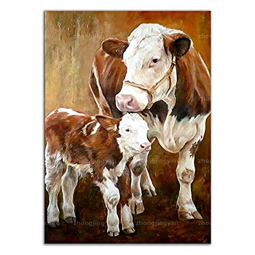 zuomo Cartel de Vaca Animal Lienzo Pintura Carteles de Animales e Impresiones imágenes artísticas de Pared para la decoración del hogar de la Sala de Estar 50x70cm sin Marco