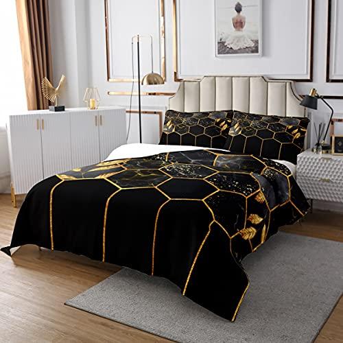 Marmor Tagesdecke Set 240x260, Schwarz Grau Geometrisches Gold Plaid Bettwäsche Set, Modernes Luxus Diamant Quilt Set mit Metallic Stripe Printed Bienenstock Hexagon Grid Coverlet Set, Honeycomb