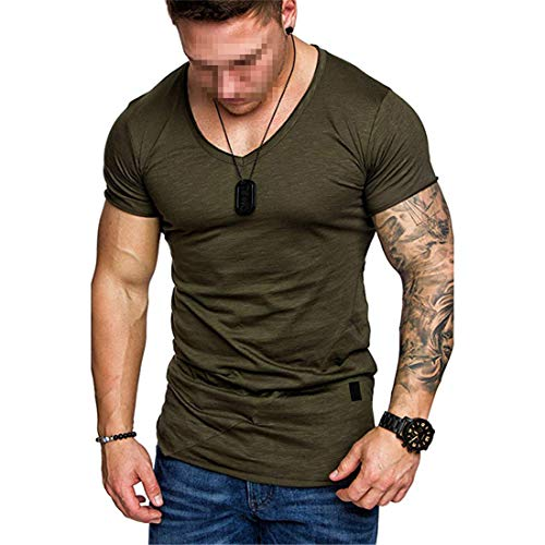 MENHG Men's Compression Cotton Polo Shirts Short Sleeve T-Shirts Plain Color Round Neck Slim Fit Pullover Quick Dry Bodybuilding Muscle Gym Workout Jogging Training Casual Tops for Spring Summer