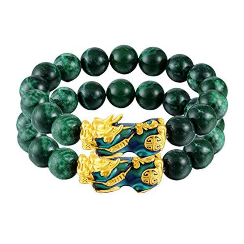 #N/A/a 2X Feng Shui Mantra Cuentas de Obsidiana Verde Pixiu Pi Yao Pulsera Joyería Mujeres Hombres