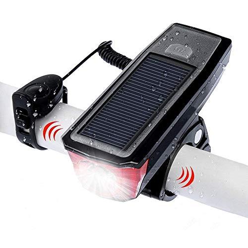 TJCB Fahrrad-Licht USB Solar Charging 350 Lumen 4 Modi Fahrrad Lampe Sicherheit beim Reiten wasserdicht beweglichen LED T6 Fahrrad Scheinwerfer mit Horn