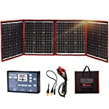 DOKIO Kit de Panel Solar monocristalino 150 W portátil Flexible Plegable Incluye Controlador de Carga Solar y Cable de PV para 12 V de Carga de batería Camper Van