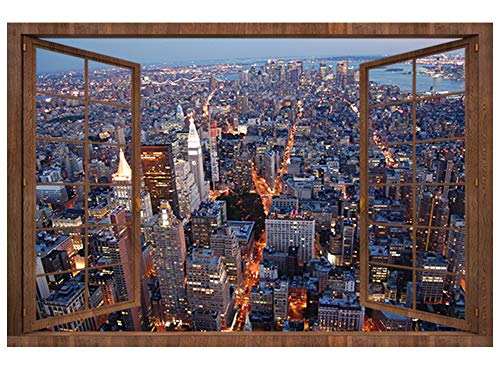 Maskjunctio Kreativ Stadtblick Aufkleber Stereoskopisches 3D Gefälschtes Fenster Wandaufkleber Wohnzimmer Dekoration