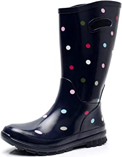 SOLARRAIN Women's Rubber Wide Calf Rain Boots for Ladies Outdoor Durable Waterproof Insulated Galoshes