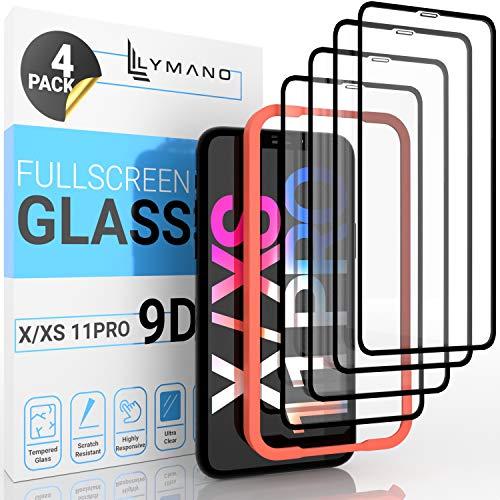 [4 Stück] LYMANO Panzer-Folie Glas Full Screen für iPhone 11 Pro/X/Xs / 10 - Bildschirm-Schutzfolie Schutzglas Glass Protector [Anti Kratzer] [Blasenfrei] [Komplett Abdeckung] - Jetzt Ansehen