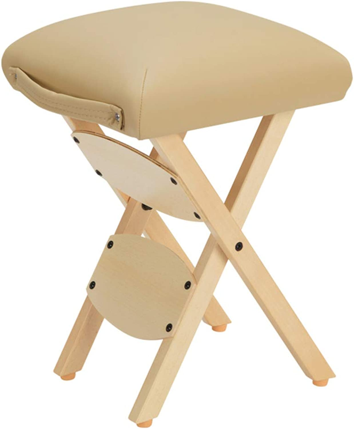 Folding Stool Folding Step Mazza Portable Stool Mazar shoes Stool Footstool Step Stool Adjustable Foot Rest Collapsible PU Cushion Shrink GAOFENG (color   Beige)