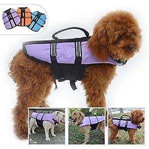 Lovelonglong Dog Lifejacket Life Jackets for Pugs Small Medium Dogs Swimming Safe Boating Coat Dog Swim Protect Reflective Vest Pet Life Preserver Purple L