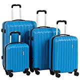 Murtisol Travel 4 Pieces ABS Luggage Sets Hardside Spinner Lightweight Durable Spinner Suitcase 16' 20' 24' 28', 4PCS Blue
