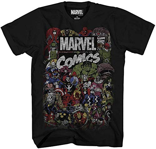 Marvel Comics Logo Thor Hulk Iron Man Avengers Spiderman Daredevil Strange Loki Thanos Adult Mens T-Shirt Apparel (Black,Medium)