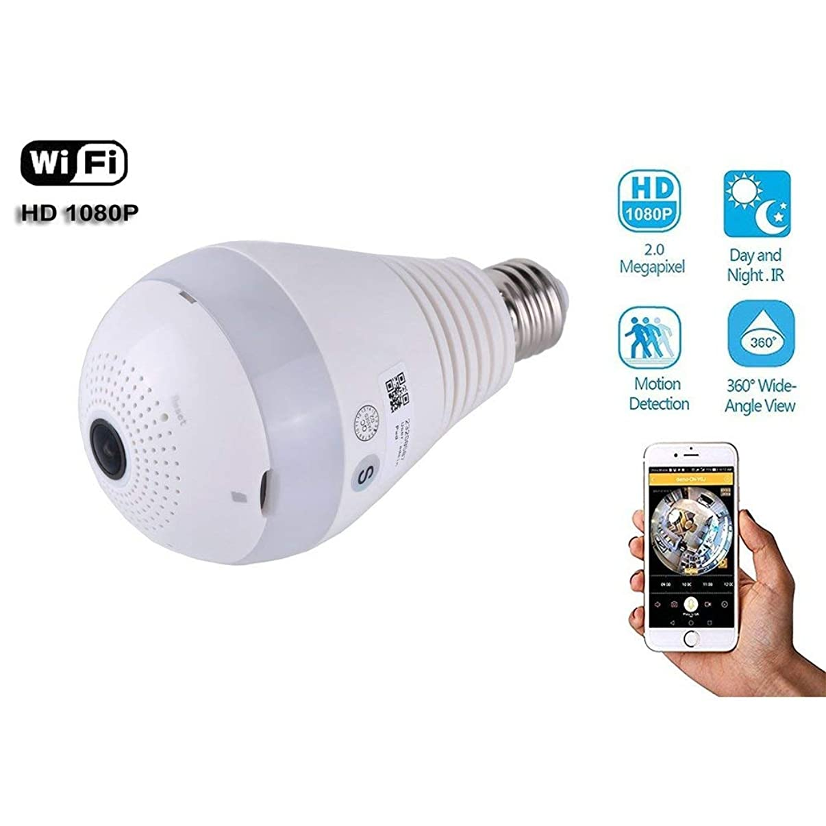 Light Bulb Camera WiFi 1080P HD 360, Wireless Security Camera Home LED Light Cameras Motion Detection Night Vision