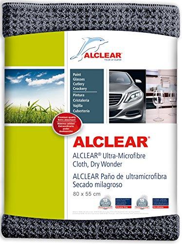 ALCLEAR Auto Microfasertuch Trockenwunder für Autopflege, Autolack, Motorrad, Küche u. Haushalt – Microfaser Geschirrtuch - weiches Trockentuch - 80x55 cm grau