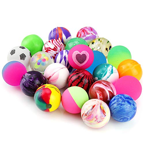 Pllieay 24 Pieces Jet Bouncy Balls 25mm Mixed Color Party