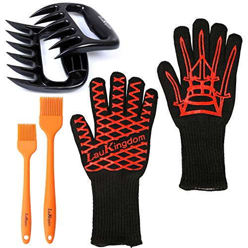 BBQ Cooking Tool Set Grilling Accessories Includes Silicone Extreme Heat Resistant Gloves, Meat Claws Plus Non-Slip Basting Brushes for Your Indoor and Outdoor Needs for Grilling, Baking and Barbecue