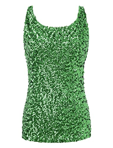 kayamiya Women's 1920S Style Glitter Sequined Vest Tank Tops L Green
