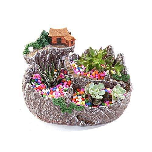 Maceta de Flores Suculenta maceta linda resina mini pequeña bonsai planta maceta diminuta decoración regalo para el hogar, jardín de oficina (sin plantas) Macetas Interior y Exterior ( Color : A )