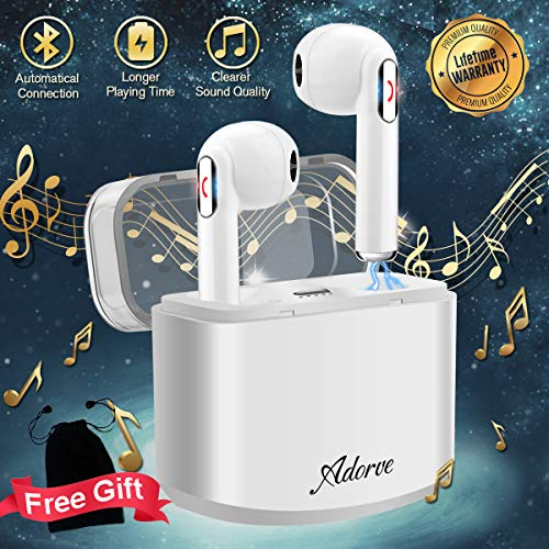 Wireless Earbuds, Bluetooth Headphones TWS with Mic Compact in-Ear Mini Cordless Stereo Wireless Earbuds with Charging Case Ear Buds Compatible for Android Phones White【Upgrade Version】