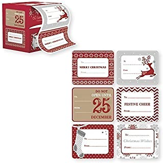 Jumbo Self Adhesive Christmas Gift Tag Stickers Label 60 Count Modern Red, White, Silver, and Gold Xmas Designs - Easy To Use - Looks Great on Gifts Presents, Wrapping Paper and Gift Bags.