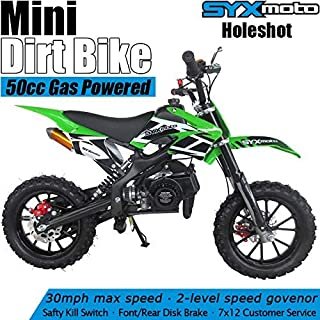 SYX MOTO Kids Dirt Bike Holeshot-X 50cc Gas Power Mini Dirt Bike 23inches Seat Height Dirt Off Road Motorcycle, Pit Bike Fully Automatic Transmission (New Green)