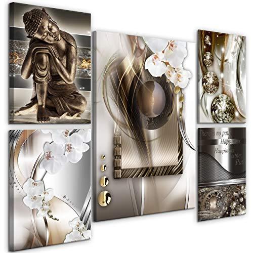 decomonkey | Impression sur Toile intissée Bouddha 110x80 cm | 5 Piece | Tableau Mural Image sur Toile Photo Images Motif Moderne Décoration tendu sur Chassis Abstrait Orchidee
