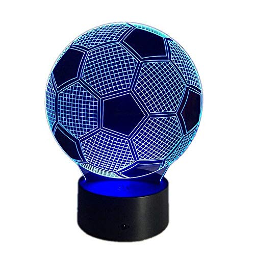3D Night Light Optical Illusion Led Lamp Novelty Soccer Toy 7 Color Changing Visual RGB Gradient Lights Home Decoration Acrylic Plate Touch Dimmer Table Lighting for Kids Adults Gift (Football)